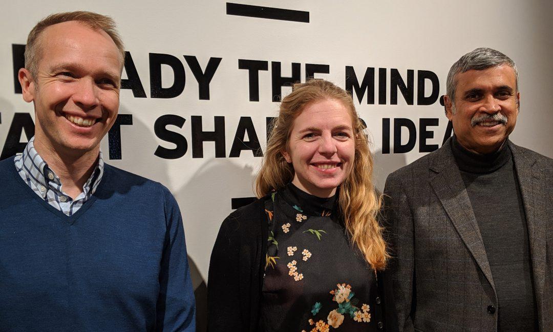 eHelse 2019 er et unikt samarbeid mellom fem partnere om eHelse, her representert ved tre av dem: Eirik Arnesen fra Legeforeningen, Christine Rygg fra Norsk sykepleierforbund og Francis d'Silva fra Dataforeningen.