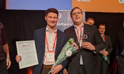 Magnus Eide og Marco Westergren, InfoTiles, vant årets Smartby-pris.