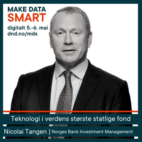 Nicolai Tangen fra Oljefondet holder åpningsforedraget på Make Data Smart 5. mai.